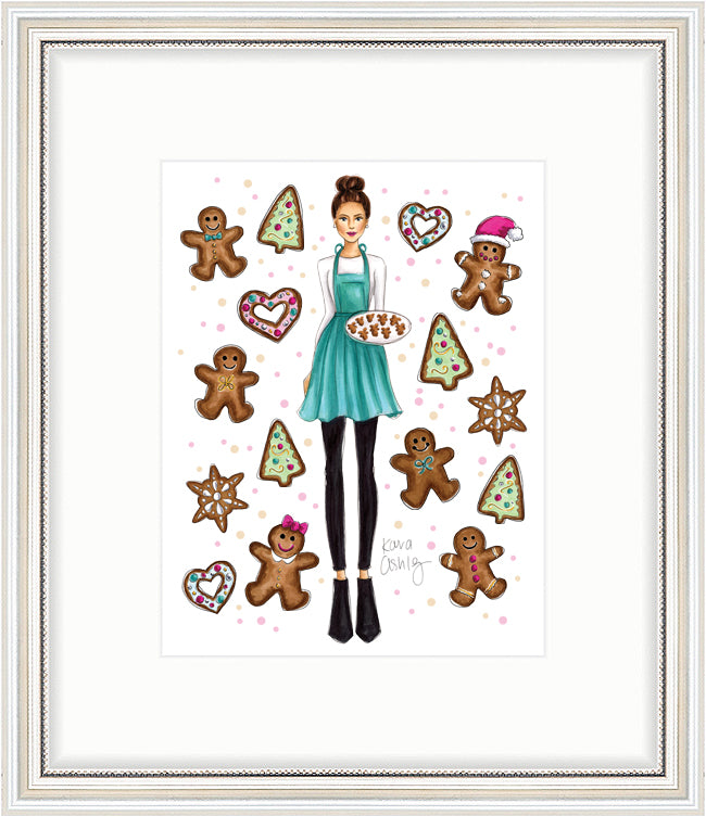 kara ashley, artwork, drawing, christmas, winter, ginngerbread, holiday, apron, cookies, heart, sprinkles