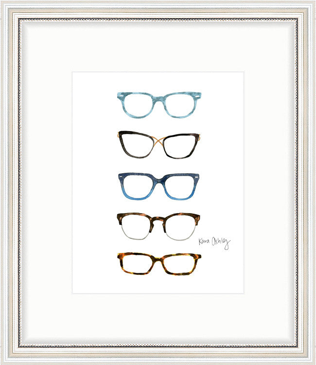 kara ashley, artwork, art print, illustration, framebridge, silver beaded, glasses, stack