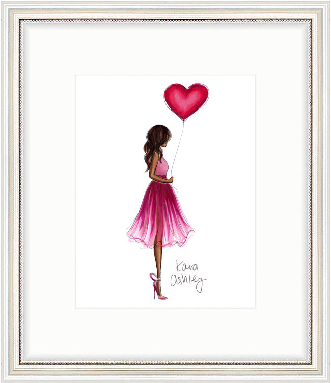 kara ashley, shreeve, artwork, illustration, holiday, valentines day, heart balloon, love, valentine, pink, red, outfit, what to wear