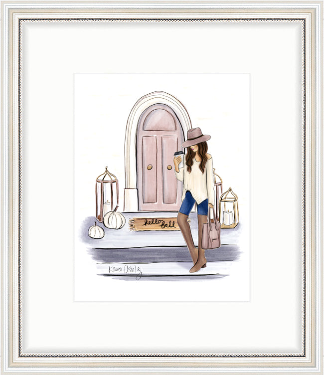 kara ashley, artwork, art print, illustration, framebridge, silver beaded, fall front porch, lanterns, pumpkins, arch door, otk, blogger, fedora, comfy, sweater, coffee