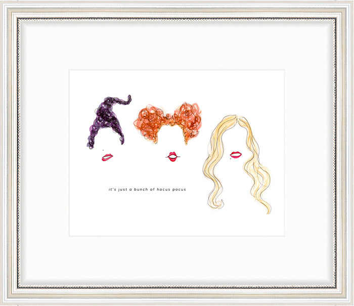kara ashley, artwork, art print, illustration, framebridge, silver beaded, hocus pocus, halloween, sanderson sisters