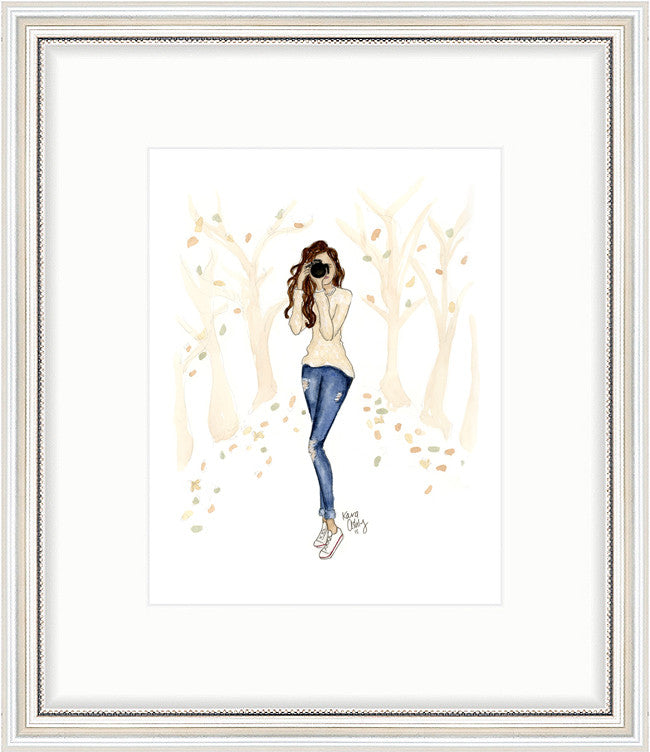 kara ashley, artwork, art print, illustration, framebridge, silver beaded, photographer, fall leaves, casual