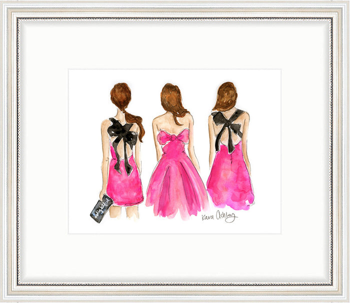 kara ashley, artwork, art print, illustration, framebridge, silver beaded, kate spade, bow back, pink, dress, runway