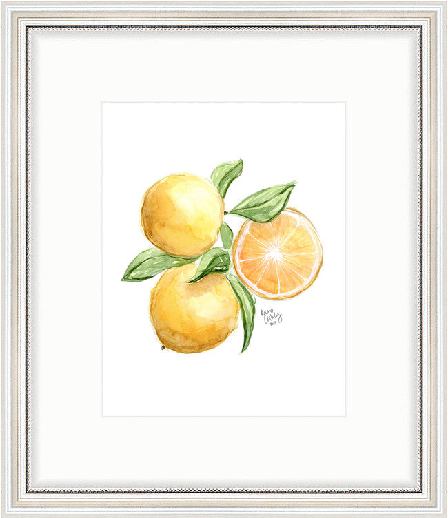kara ashley, artwork, art print, illustration, framebridge, silver beaded, lemon, bunch, tropical, amalfi, italy