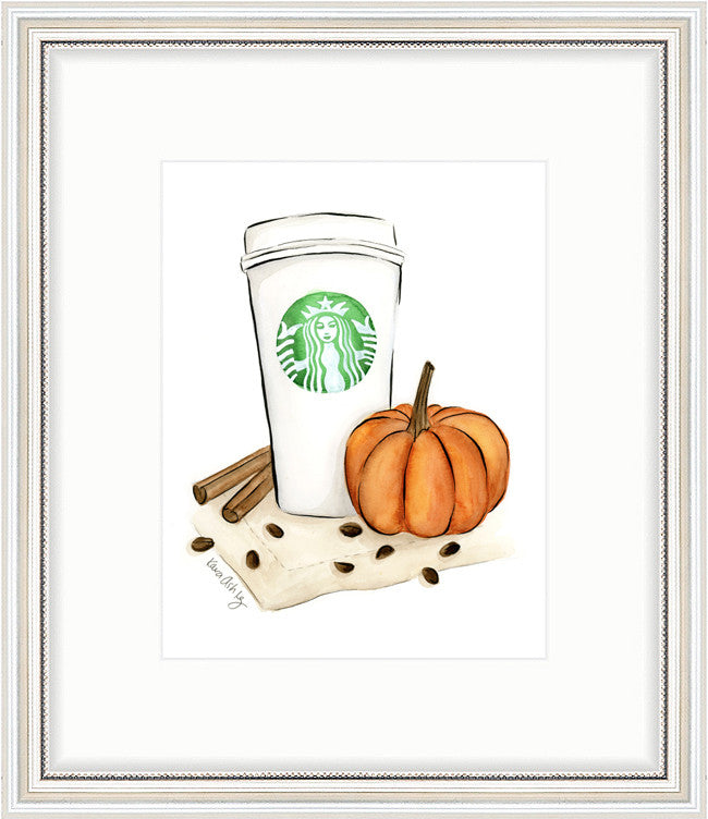 kara ashley, artwork, art print, illustration, framebridge, silver beaded, starbucks, coffee, psl, pumpkin spice, latte