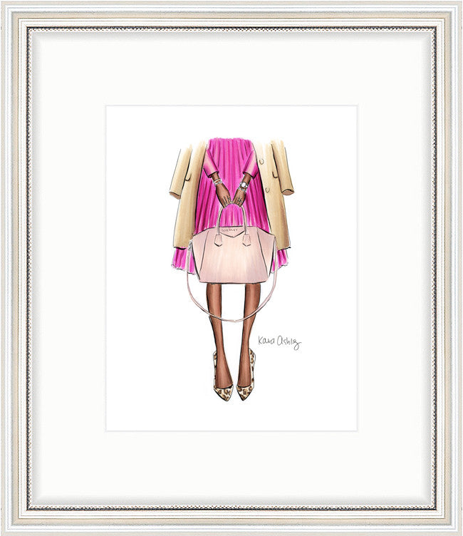 kara ashley, artwork, art print, illustration, framebridge, silver beaded, givenchy, antigona, pink, camel, blogger, leopard, dark skin