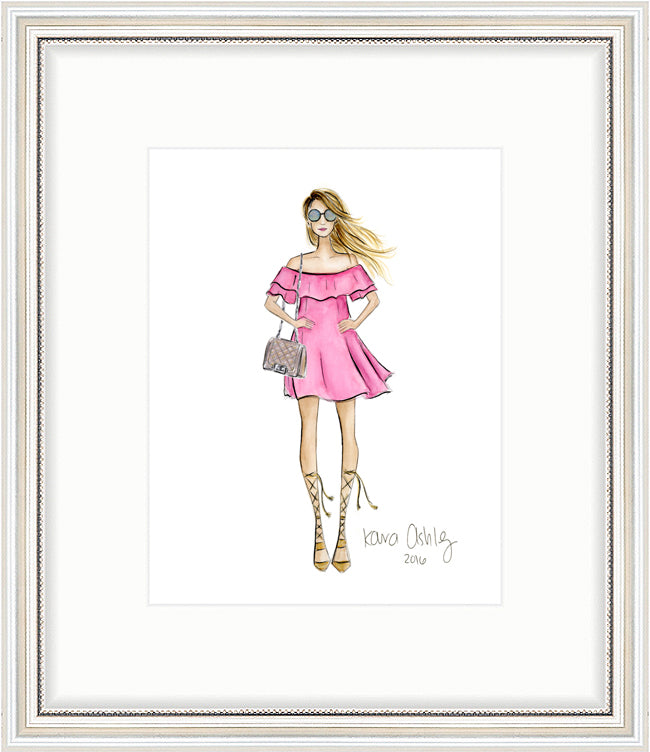 kara ashley, shreeve, design, artwork, art print, illustration, framebridge, silver beaded, fashion girl, summer, pink dress, gladiator sandals