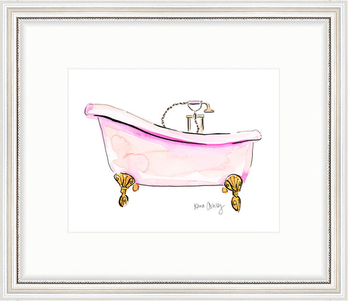 kara ashley, artwork, art print, illustration, framebridge, silver beaded, pink, tub, bathroom