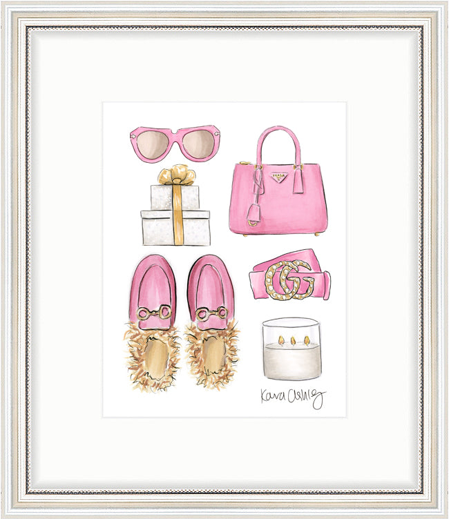 kara ashley, artwork, art print, illustration, framebridge, silver beaded, pink, collage, gifts, gucci, princetown, furry slippers, prada, gold, present, christmas, holiday