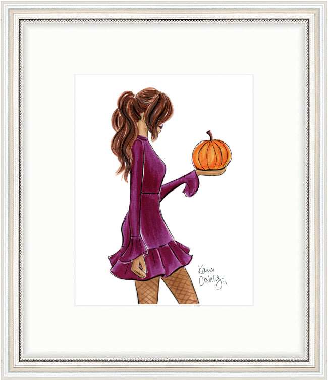 kara ashley, artwork, art print, illustration, framebridge, silver beaded, halloween, fall, pumpkin, fashion girl, ponytail, maroon, burgundy, dress
