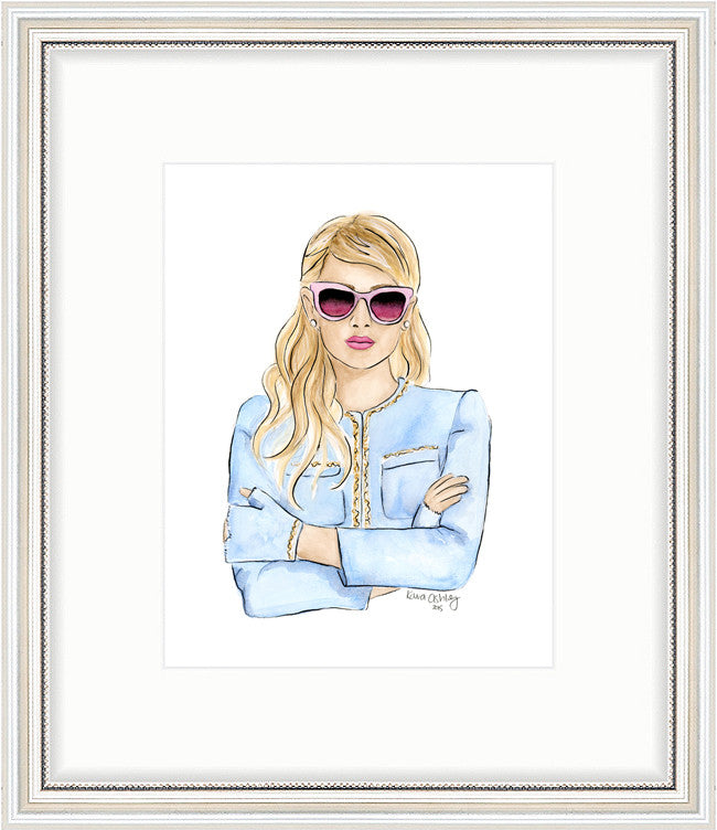 kara ashley, artwork, art print, illustration, framebridge, silver beaded, emma roberts, chanel, number 1, arms crossed, sorority, scream queens
