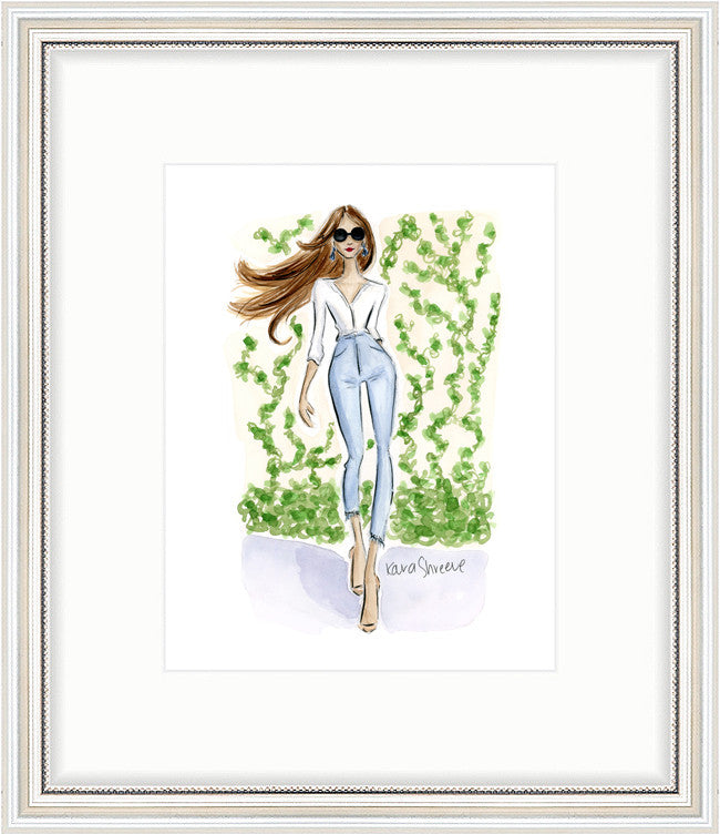 kara ashley, artwork, art print, illustration, framebridge, silver beaded, casual ivy, fashion girl
