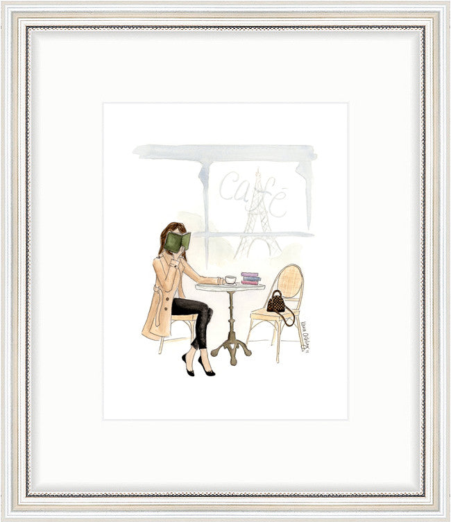 kara ashley, artwork, art print, illustration, framebridge, silver beaded, paris, bookworm, cafe, sitting, fashion, louis vuitton, alma bb