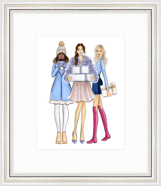 kara ashley, artwork, art print, illustration, framebridge, silver beaded, trio, fashion girls, street style, blogger, winter, christmas, what to wear, coat, gift