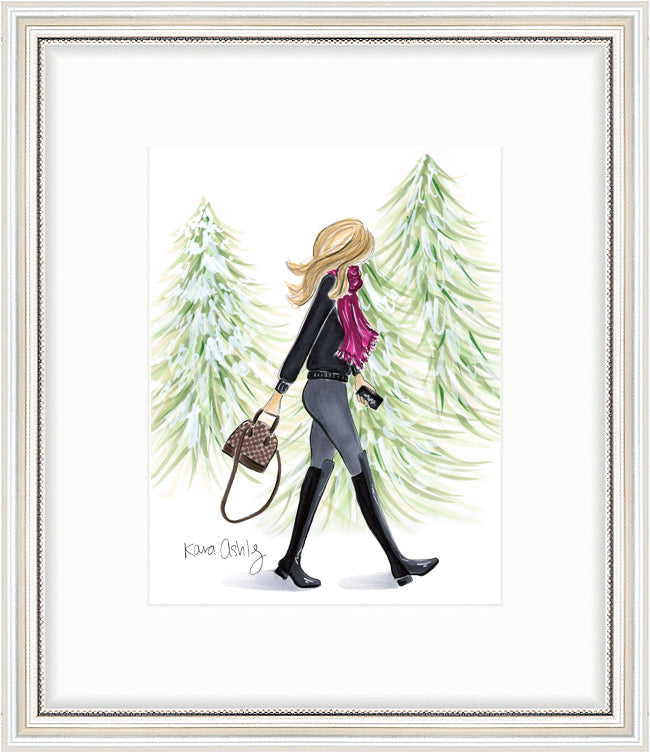 kara ashley, artwork, art print, illustration, framebridge, silver beaded, snowy trees, forest, walking, fashion girl, 5050 boots, louis vuitton, alma bb