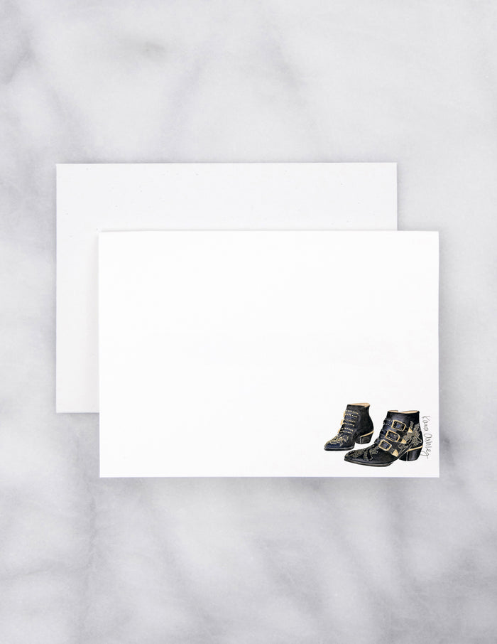 Biker Boots Note Cards (Set of 8)