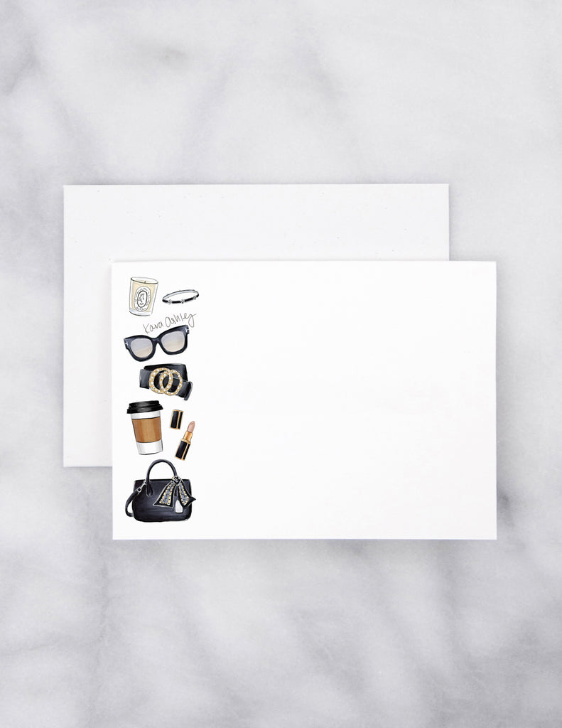 kara ashley, artwork, drawing, note card, set, black, accessories, fashion, style