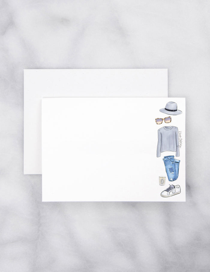 kara ashley, artwork, drawing, note card, set, accessories, fashion, style, grey, fall