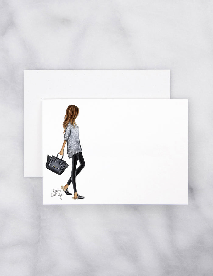 kara ashley, artwork, drawing, fall, fashion girl, note card, set, furry slippers, sweater weather