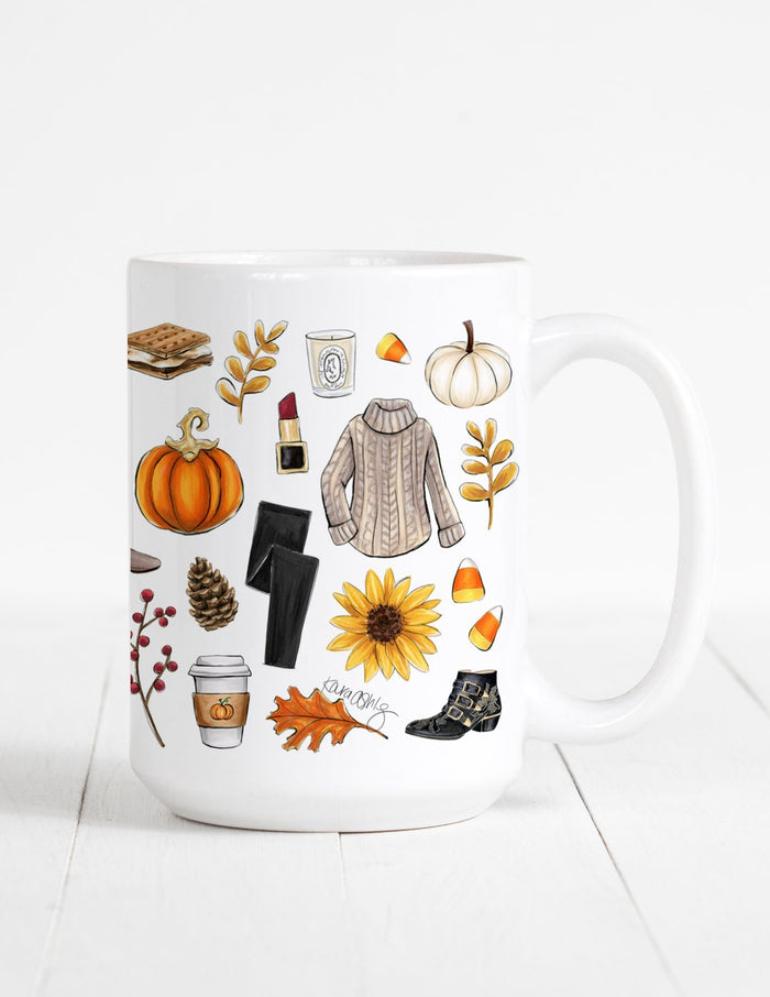 kara ashley, fall, mug, illustration, collage, cute, outfit, artwork