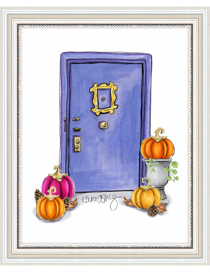 kara ashley, artwork, illustration, art print, fall, pumpkin, leaves, sweater weather, friends, tv show, monica geller, thanksgiving, apartment, purple door