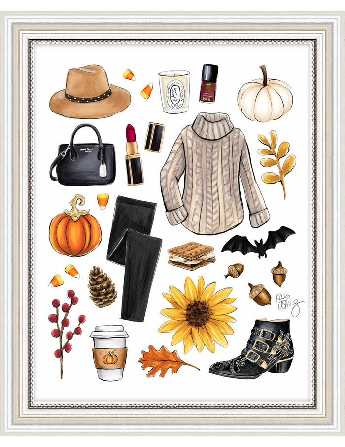 kara ashley, artwork, illustration, art print, fall, pumpkin, leaves, sweater weather, boots, black, bat, halloween