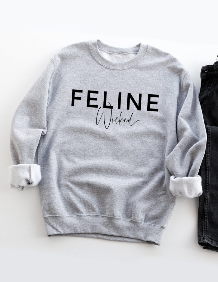 kara ashley, design, sweatshirt, fall, cozy, feline, wicked, celine