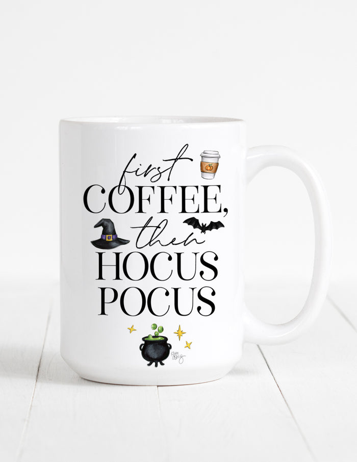 kara ashley, illustration, artwork, mug, fall, halloween, witches, coffee, funny