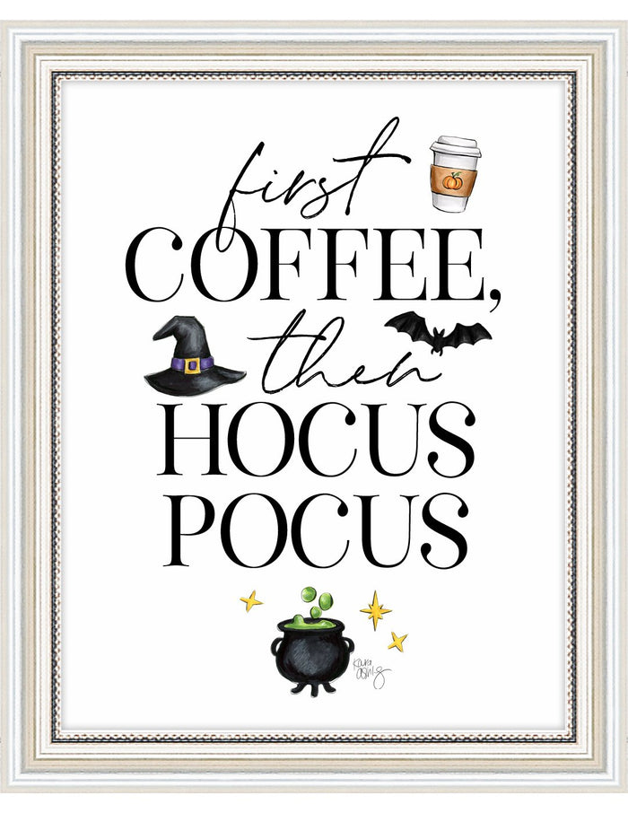 kara ashley, artwork, illustration, art print, fall, pumpkin, leaves, sweater weather, hocus pocus, coffee, halloween, movie