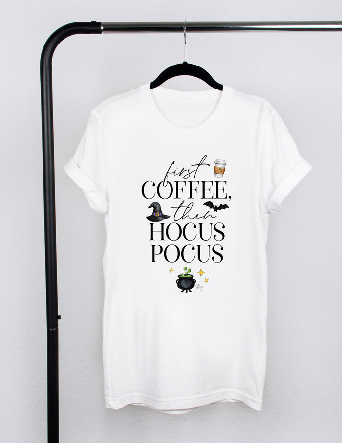 kara ashley, tee, shirt, halloween, graphic, text, coffee, hocus pocus