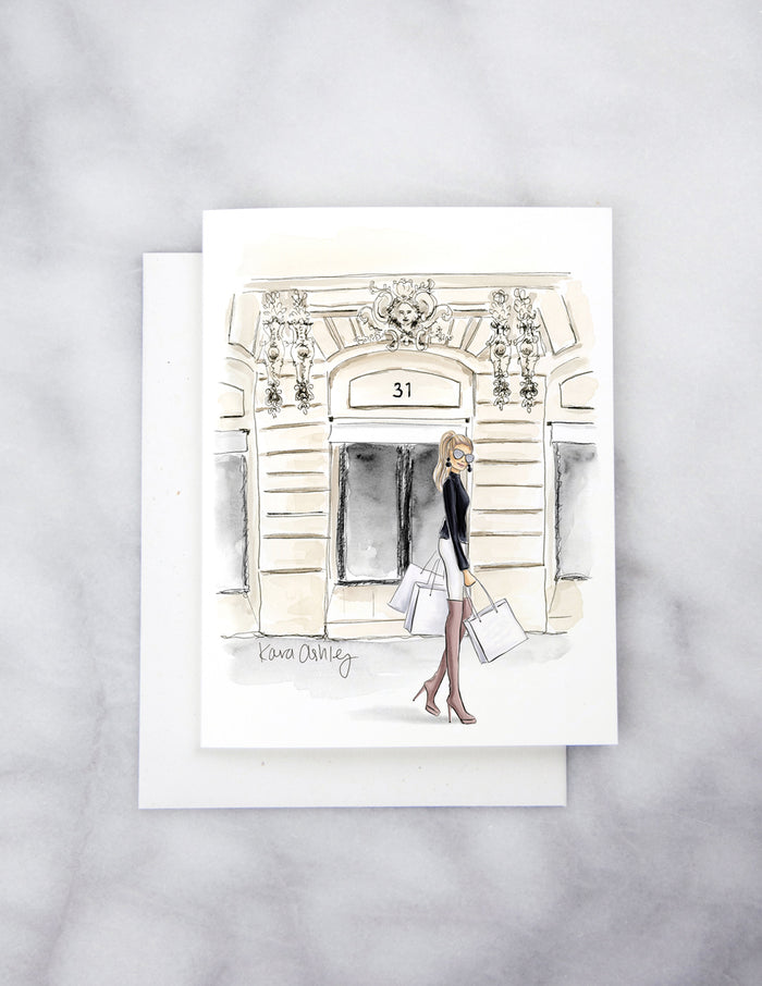 kara ashley, artwork, illustration, design, greeting card, chanel, shopping, bags, gift, present, paris
