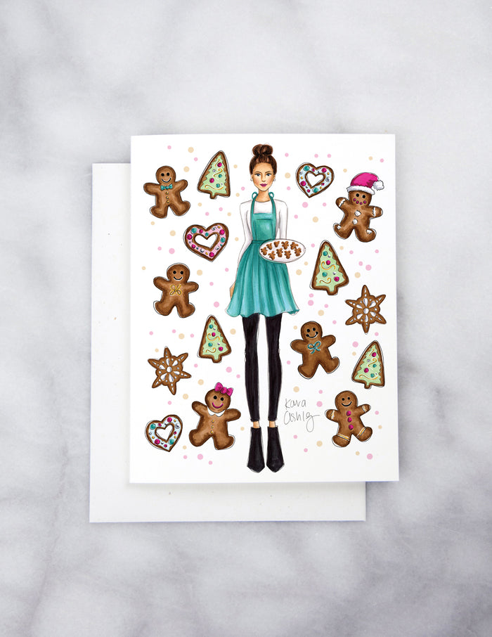 kara ashley, artwork, drawing, christmas, winter, ginngerbread, holiday, apron, cookies, heart, sprinkles, greeting card