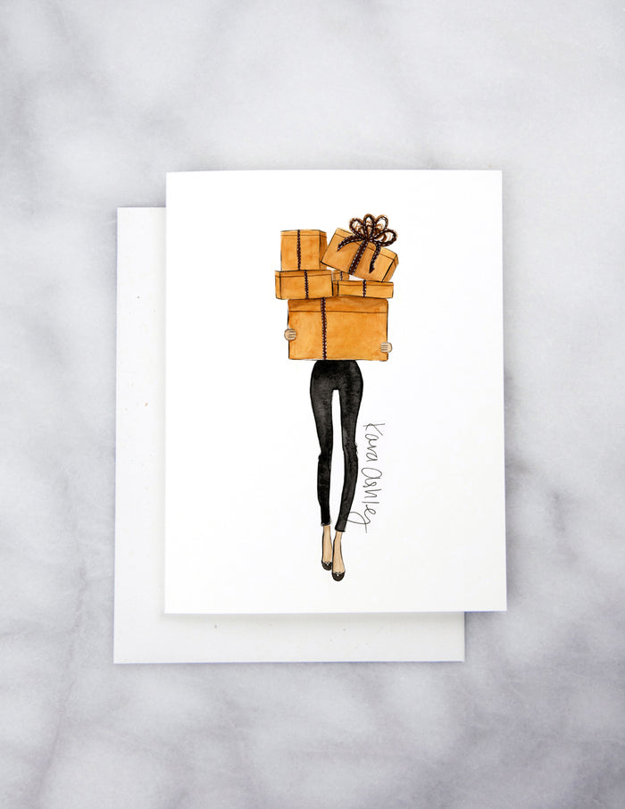 kara ashley, artwork, illustration, design, greeting card, hermes, shopping, orange, boxes, gift, present, black skinnies
