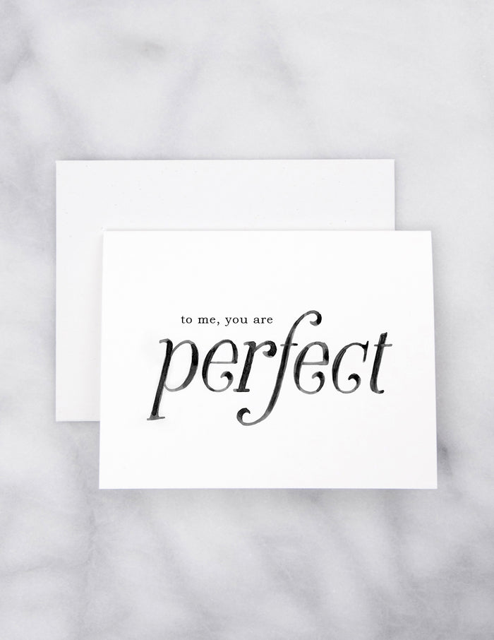 kara ashley, artwork, illustration, design, greeting card, love actually, quote, to me you are perfect, love, valentine
