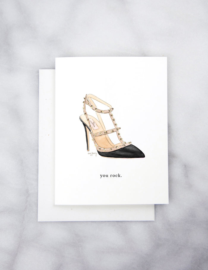 kara ashley, artwork, illustration, design, greeting card, valentino, rockstud, shoes, heels, you rock