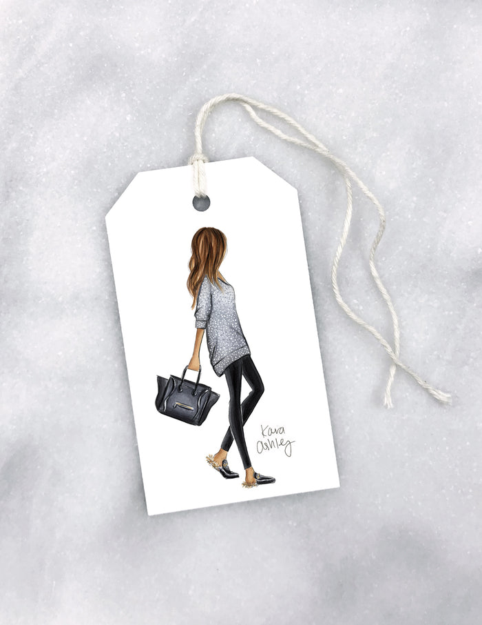 kara ashley, artwork, drawing, gift tag, christmas, wrapping, furry slippers