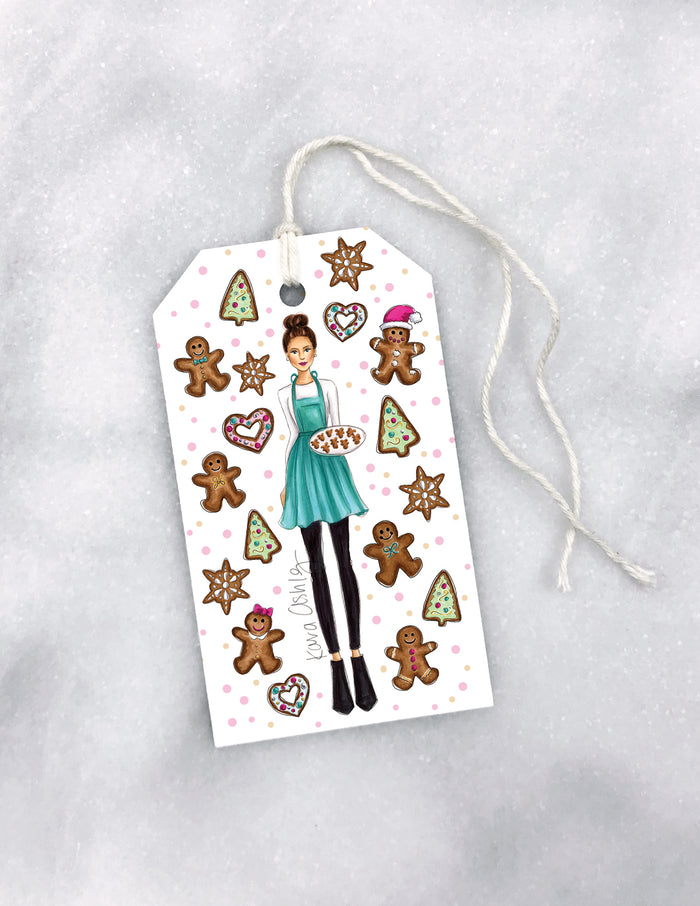 kara ashley, artwork, drawing, gift tag, christmas, wrapping, gingerbread, baker