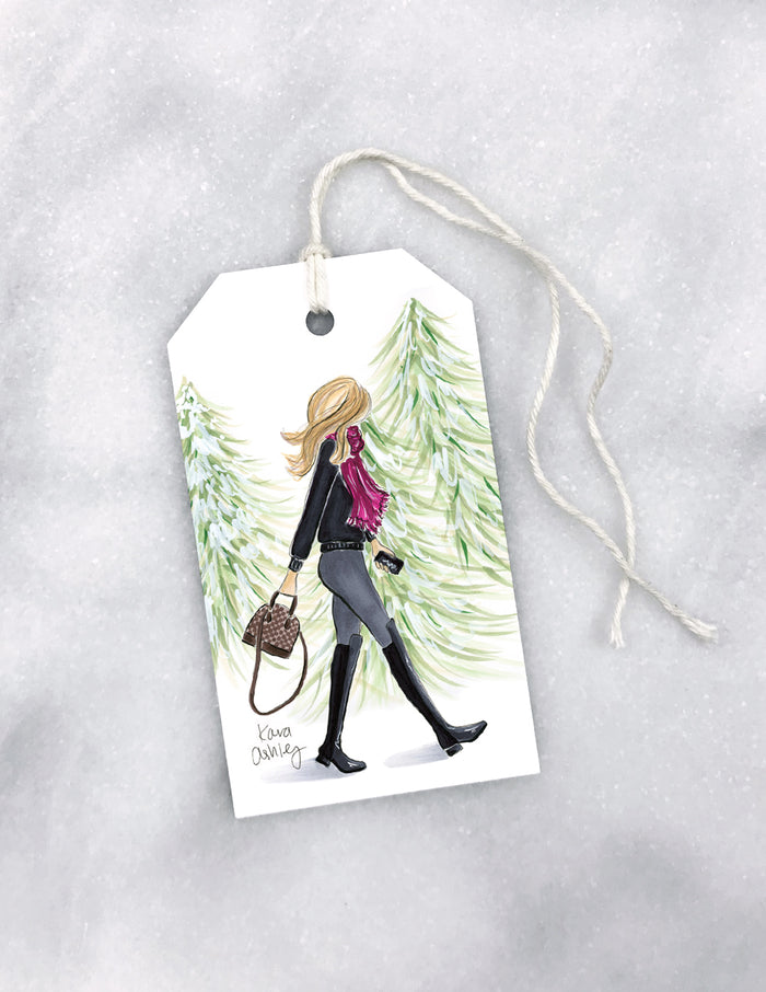 kara ashley, artwork, drawing, gift tag, christmas, wrapping, winter, walk, forest, fashion girl
