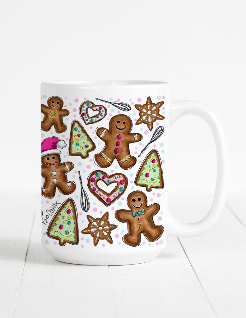 kara ashley, artwork, drawing, christmas, winter, ginngerbread, mug, cookies, heart, sprinkles