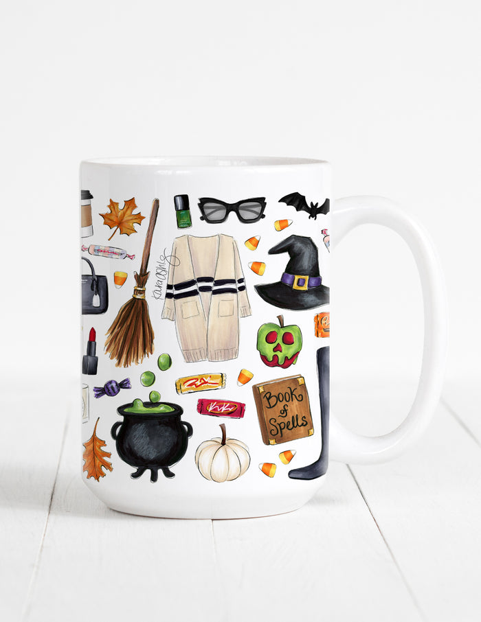 kara ashley, illustration, artwork, mug, fall, sweater weather, leaves, halloween, witch