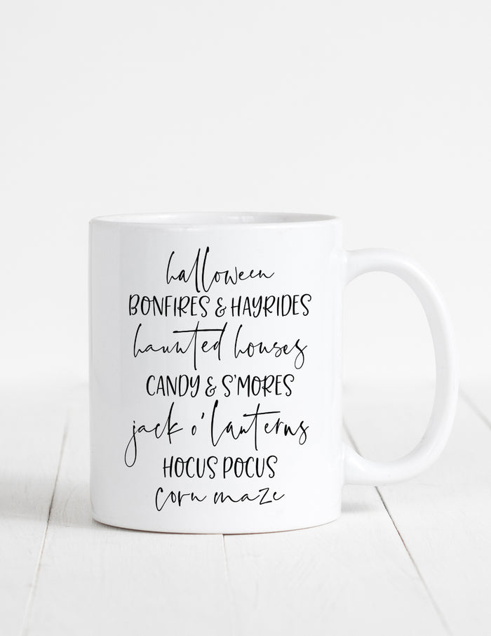 kara ashley, illustration, artwork, mug, fall, list, halloween, text