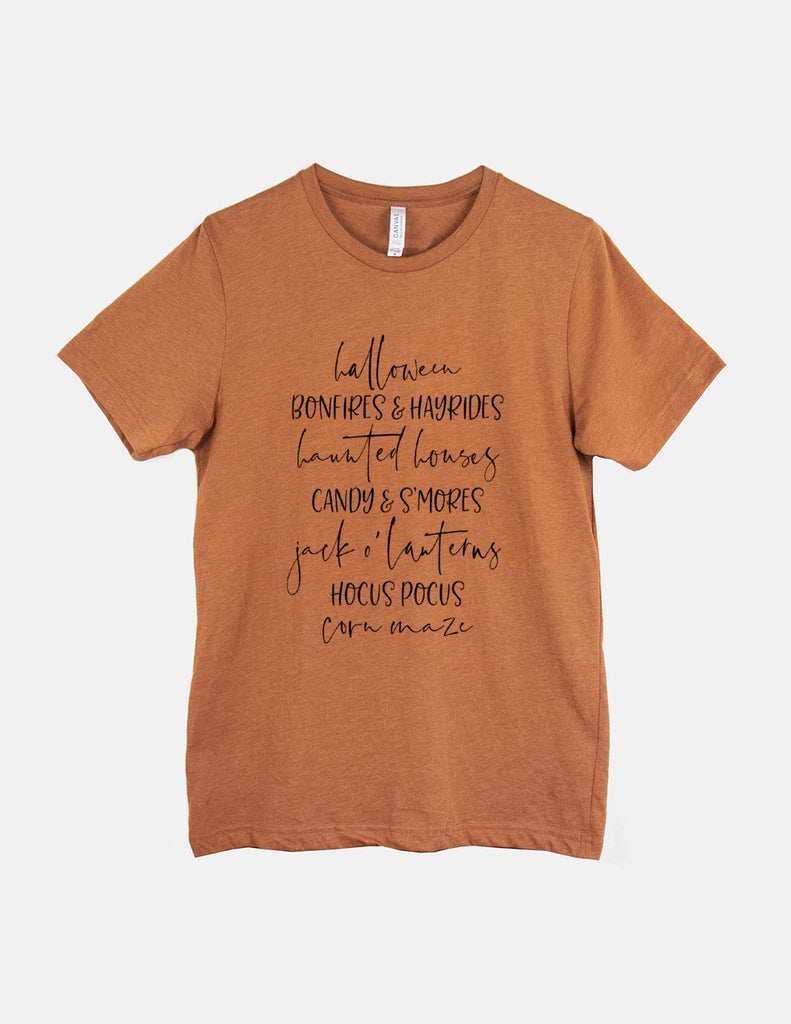 kara ashley, tee, shirt, halloween, graphic, text, list, fall, pumpkin spice