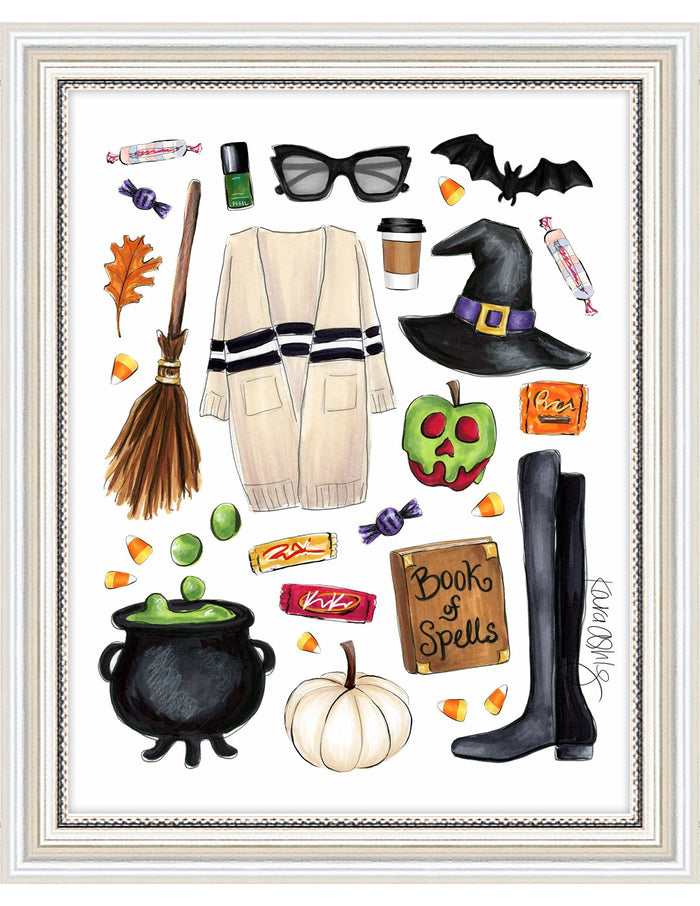 kara ashley, artwork, illustration, art print, fall, pumpkin, leaves, sweater weather, witch, candy