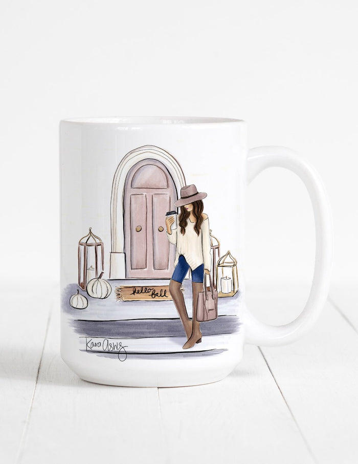 kara ashley, artwork, mug, fall, porch, fashion, sweater weather
