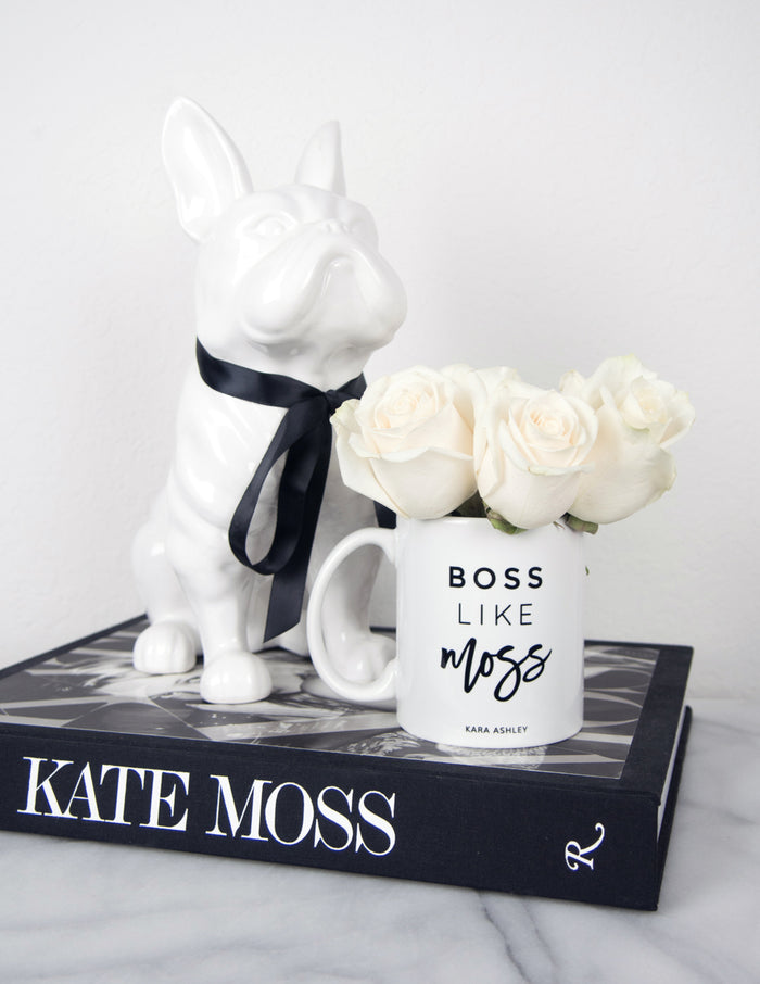 kara ashley, design, mug, fashion, girl boss, office, boss, kate moss, boss like moss, z gallerie, frenchie, white, roses