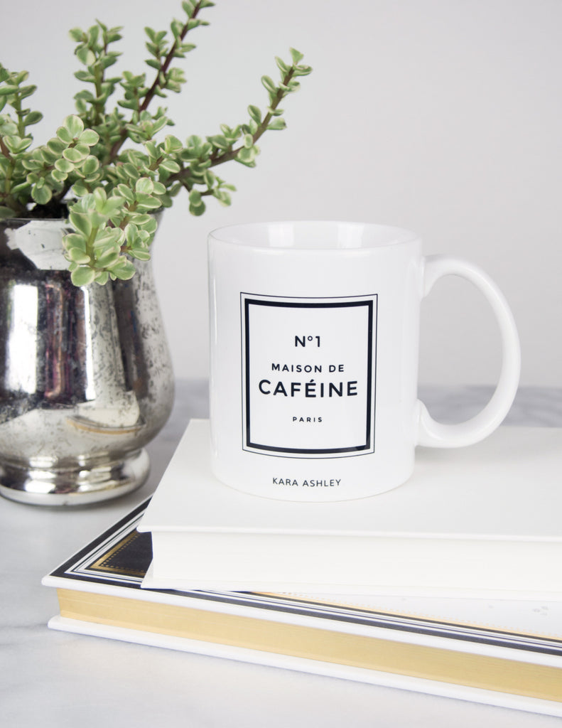 kara ashley, design, mug, fashion, girl boss, office, chanel, perfume, inspired, maison de cafeine, caffine, succulent, megan hess, book