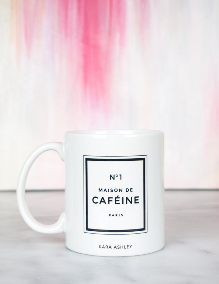 kara ashley, design, mug, fashion, girl boss, office, chanel, perfume, inspired, maison de cafeine, caffine, abstract art