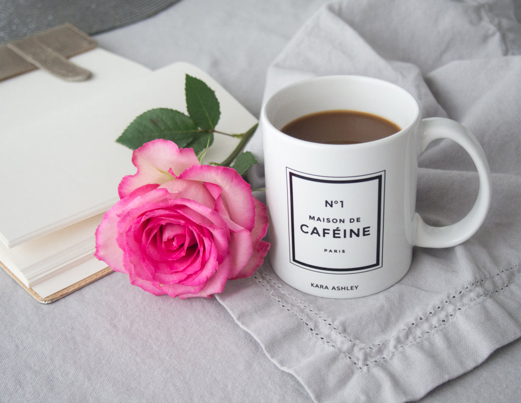 kara ashley, design, mug, fashion, girl boss, office, chanel, perfume, inspired, maison de cafeine, caffine, anthropologie, journal, rose, coffee, home goods, linen napkin
