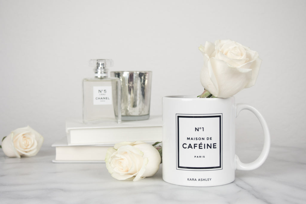 kara ashley, design, mug, fashion, girl boss, office, chanel, perfume, inspired, maison de cafeine, caffine, roses
