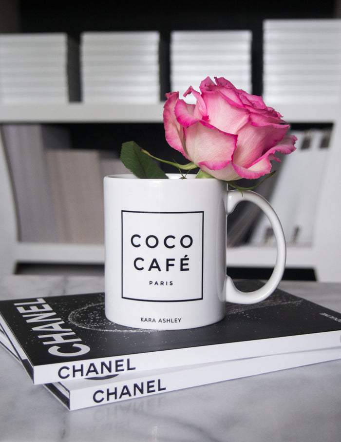 kara ashley, design, mug, fashion, girl boss, office, romantic, rose, coco cafe, chanel, paris